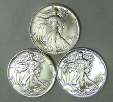 Set of 3 American Silver Eagles 1986 1987 1988 Silver Dollars 1st 3 Years