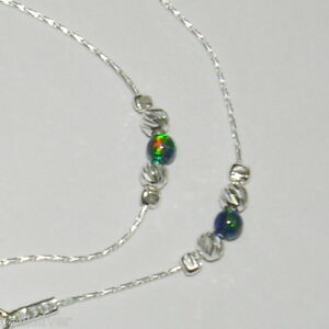 Sterling Silver 925 Chain, Laser Cut and DARK GREEN OPAL Beads ANKLET Your size