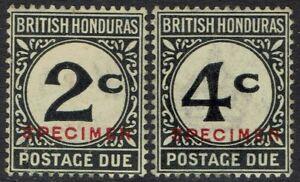 BRITISH HONDURAS 1923 POSTAGE DUE SPECIMEN 2C AND 4C WMK MULTI SCRIPT CA