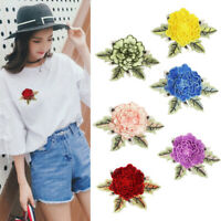 Small Peony Embroidery Patch Sew On Badge DIY Clothes Dress Applicque Craft AU