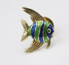 """Signed McTeigue 18k Yellow Gold Blue Green Guilloche Enamel Fish Pin 0.8"""" OG212"""