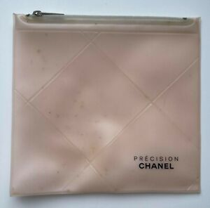 CHANEL COSMETIC/MAKEUP BAG PRECESION CLEAR BEIGE VINTAGE VIP GIFT