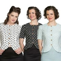 Banned Retro 60s Spotlight Polka Dot Blouse In Mint | Black Or White Sizes 6-22