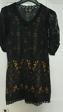 Ladies black jersey dress multi coloured design, lace sleeves size M
