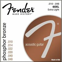 Fender 60XL Phosphor Bronze Extra Light Acoustic Guitar Strings (10-48)