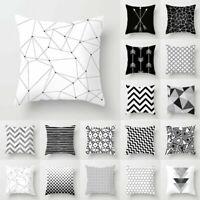 Black&White Geometric Cushion Cover Pillow Case Home Sofa Waist Throw Square New