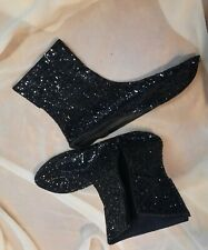 A.F.Vandevorst black leather Booties soft sole socks 39-41 NIGHTFALL glitter new