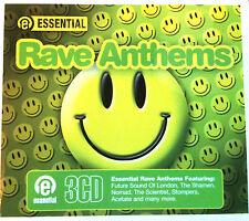 ESSENTIAL RAVE ANTHEMS - 3 X CDS 30 UNMIXED FULL TRACKS !! OLDSKOOL CD CDJ DJ