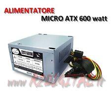 ALIMENTATORE PICCOLO MICRO ATX 600 WATT v2.3 MINI ITX MINI CASE SATA IDE HD HTPC