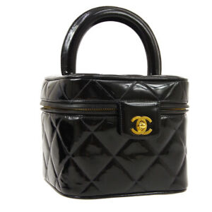 CHANEL Quilted CC Cosmetic Vanity Hand Bag Purse Black Patent 4881955 AK25707g