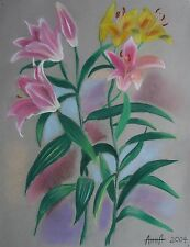 Study Of Pink And Yellow Lily Flowers, Original Pastel Drawing