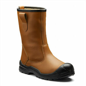 MENS DICKIES DIXON LINED RIGGER TAN SCUFF CAP SAFETY STEEL TOE CAP WORK BOOTS