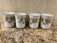 Vintage Royal Albert England Lyndale Set of 4 Mugs Wild Strawberries EUC