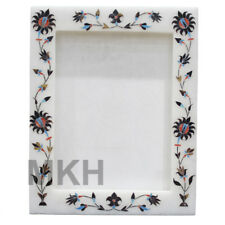 Photo Frame Marble Inlay Semiprecious Stones Picture Frame Marquetry Vintage Art
