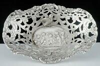 Antique Hanau Silver Openwork Cherub & Birds Dish c.1890