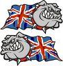 Handed Pair British BULLDOG Union Jack British UJ UK Flag vinyl car sticker 50mm