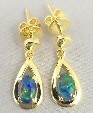 Unique Tear Drop Style Triplet Opal Drop Dangle Earrings / 18ct Gold Plated