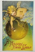 A Happy New Year Girl Angel Ringing Bell Embossed 1900s Antique Vintage Postcard