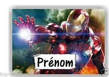 Plaque de porte en ( sur ) bois Iron Man avec prénom   N° 124