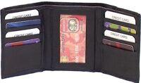 Genuine Leather Lambskin Tri-Fold Men's Wallet BLACK # 4183