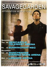 "SAVAGE GARDEN  ""AFFIRMATION world tour"" UK promo flyer 15 x 20 cm RARO!"
