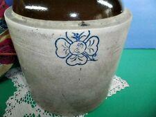 Antique RARE Four Leaf Clover Cobalt Blue Pottery Crock Moonshine Brown Jug