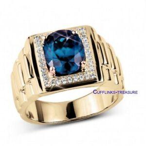 Natural Landon Blue topaz & CZ Gemstones 925 Sterling Silver Gold Plated Ring