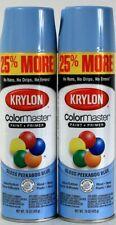2 Cans Krylon 15 Oz ColorMaster 3460 Gloss Peekaboo Blue Paint & Primer Spray