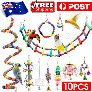 10X Parrot Hanging Swing Bird Toy Harness Cage Ladder Parakeet Cockatiel Budgie