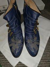 Chloe Susanna BOOTS NAVY Cosmic Blue Gold Rivets 40 à peine porté Sac à Poussière Boîte £ 850