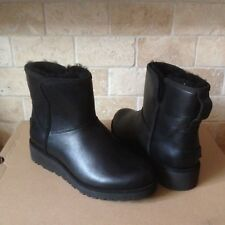 UGG KRISTIN CLASSIC SLIM BLACK LEATHER WEDGE ANKLE BOOTS SIZE US 8 WOMENS