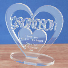 Personalised Heart with Message Ornament Keepsake Grand Son Birthday Gift