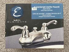 Bath Elements 4� Centerset Vanity Faucet Satin Nickel With Pop-up Drain