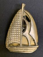 Vintage Brass Sail Boat Desk Paper Wall Clip Paper Weight Action Taiwan