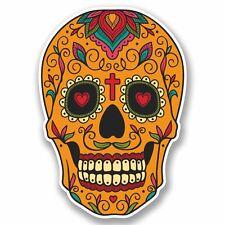 2 x Sugar Skull Vinyl Sticker Car Travel Luggage #9724