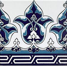 "Blue & White 8""x8"" Turkish Ottoman Iznik Floral Pattern Ceramic Tile Border"