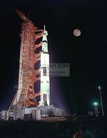 APOLLO 17 SATURN V AT LAUNCH PAD 39A UNDER FULL MOON - 8X10 NASA PHOTO (EP-165)
