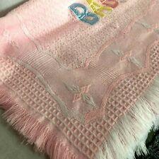 Bright Future Baby Blanket 32�x45� Pink Acrylic Waffle Weave Fringe Satin Letter