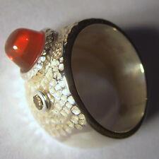 massiver Mexico-Feueropal-Rauchdiamant-Ring, Unikat, 925er Silber, Gr. 52