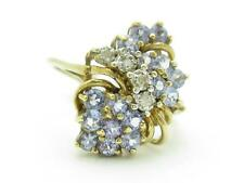14k Solid Yellow Gold Tanzanite & Diamond Floral Design Right Hand Cocktail Ring