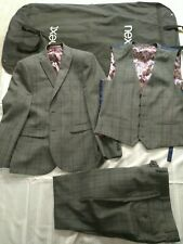Próximos tres piezas Traje Chaqueta Chaleco Pantalones. verifique Azul 40r Boda