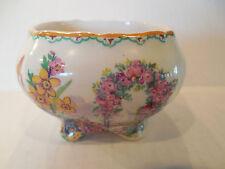 H&K Tunstall Open Sugar Bowl Dish Handpainted Signed Floral Gazebo England