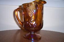 Carnival Glass Pedestal Pitcher Vintage Indiana Iridescent Amber Gold Grapes Har