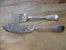 Antique Fish Slice & Fork Elkington Mason & Co Silver Plate Dated 1880 Lovely
