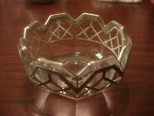 Deco Art Glass Sculpted Crystal Bowl with Applied Sterling Framing