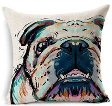 ENGLISH BRITISH BULL DOG Breed Watercolour Linen Cushion Cover - Home Decor Gift