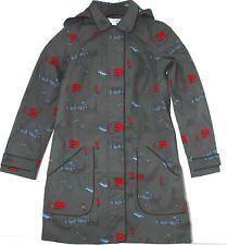 New Boden Raincoat Womens London Themed Print Grey Detachable Hood Mac UK 6R