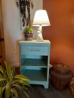 Vintage Art Deco Shabby Chic Pale Green Accent / Side / End / Night Table