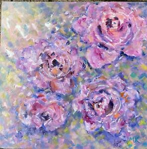 """Ready to Hang Original Oil Painting """"Abstract Roses """""""