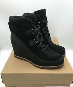 Ugg Kriston Waterproof Bootie Black Leather Suede 1108629 Size 7 MSRP $200